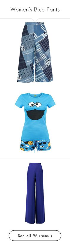"""Women's Blue Pants"" by eternalfeatherfilm on Polyvore featuring pants, boho wide leg pants, miguelina, linen trousers, boho pants, woven pants, intimates, pajamas, pijamas and sesame street"