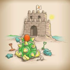 Super Mario Bros by Colin Lepper Super Mario Art, Super Mario World, Mario Video Game, Video Game Art, Funny Illustration, Illustrations, Neo Geo, Arcade Games, Dream Cast