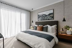 Textured grey feature wall works harmoniously with black pendants and modern soft furnishings. As featured in the Terraces by Metricon Edgewater Modern Master Bedroom, Master Bedroom Design, Home Bedroom, Bedroom Wall, Bedroom Decor, Bedroom Eyes, Grey Feature Wall, Feature Wall Bedroom, Feature Walls