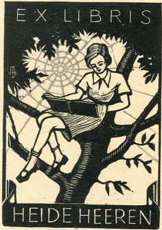 Hans-Michael Bungter / bookplate for Heide Heeren depicts girl in tree reading a book, spiderweb behind her