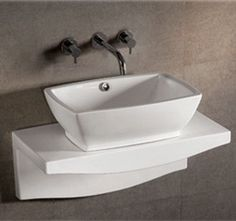 Isabella rectangular above mount basin with overflow and center drain and matching wall mount counter top