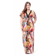 c01052f03cd 2017 Bohemian Summer Beach Dress Plus Size V Neck Short Sleeve Sexy Open  Back Loose Printed Long Maxi Dress Vestido longo