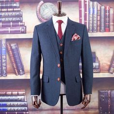 Made from Tweed Wool, Our Handmade Cheshire Navy Barleycorn Tweed Suit is just perfect for your Wedding or The Executive Office Meeting Mens Tweed Suit, Tweed Suits, Tweed Wedding Suits, Navy Suits, Mens Suits Online, Dapper Dan, Tweed Fabric, My Wardrobe