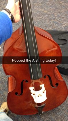 Broke my first A string on the school's bass #Gotawaywithit