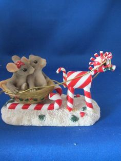 Charming Tails Mackenzie/Maxine Mouse, Sleigh, Candy Canes Dean Griff  Ret.