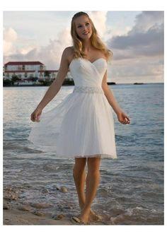 organza sweetheart neckline with a line short skirt beach simple wedding gown