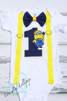 Minion Themed Cake Smash Outfit, Jerry The Minon 1st birthday bow tie suspender set cake smash outfit, Boy first birthday, Boy number 1