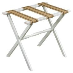 Check out this item at One Kings Lane! Vivien Luggage Rack, White/Flax