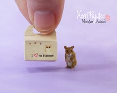 Dollhouse Miniature Golden Hamster handmade from polymer clay, cashmere & silk. Teeny individual whiskers rooted & set using a tempered steel insect pin...