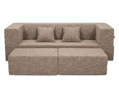 Divano modulare c/poggiapiedi Biscuit grigio - 200x80x60 cm