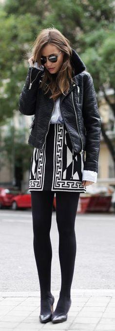 Silvia Zamora is wearing a black shearling trim leather jacket from Zara... | Style Inspiration