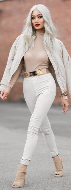 All nude & coming thru Jacket, bodysuit & jeans from Hot Miami Styles / Fashion Look By Micah Gianneli Fashion Models, Girl Fashion, Fashion Looks, Fashion Outfits, Womens Fashion, Fashion Trends, Style Fashion, Classy Outfits, Cute Outfits