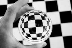 A black and white photography of chess board tiles. I love how the Lensball curves the straight lines of the floor. Photography by Wide Angle Photography, Black And White Photography, Satisfying Pictures, Straight Lines, Crystal Ball, Chess, Im Not Perfect, Cool Photos, Tiles