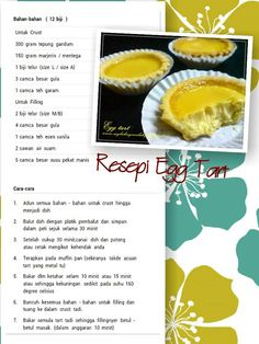 Tart telur Biscuit Cookies, Biscuit Recipe, Cookie Desserts, Cookie Recipes, Durian Recipe, Puff And Pie, Malaysian Dessert, Egg Tart, Cheese Tarts