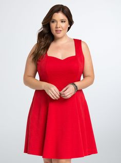 "<p>Caution: major curves ahead! This dress was made to love you with a va-va voom textured red knit that's boosted by figure-flattering fluted seams. A sweetheart neckline is <i>almost </i>NSFW.</p>  <p> </p>  <p><b>Model is 5'9"", size 1</b></p>  <ul> 	<li>Size 1 measures 38 3/4"" from shoulder</li> 	<li>Polyester/spandex</li> 	<li>Wash cold, line dry</li> 	<li>Imported plus size dress</li> </ul>"
