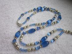 Mystical Blues Crystal Glass Beaded Lanyard ID Badge Holder | eBay