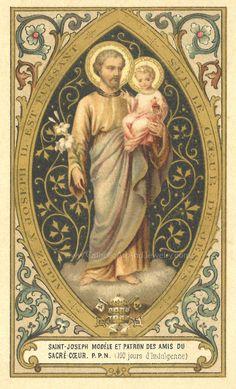 Catholic Art, Catholic Saints, Roman Catholic, Religious Art, St Joseph, Santas Vintage, Rembrandt Portrait, 4x6 Postcard, Vintage Holy Cards