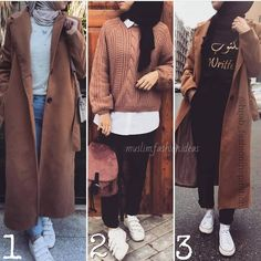 Chunky sweaters, oversized sweatshirts, and large size jackets are just rocking this season! Girls Fashion Clothes, Girl Fashion, Fashion Outfits, Fashion Design, Modern Hijab Fashion, Fashion Muslimah, Collage Outfits, Hijab Style, Hijabi Girl