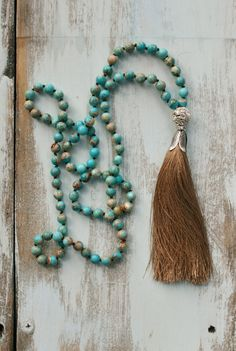 Beaded Tassel Necklace Turquoise Necklace Long Boho