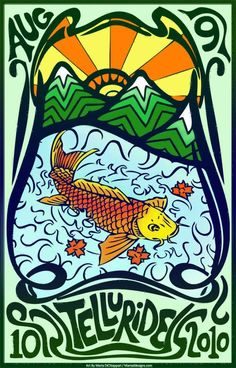 Original concert lot poster for PHISH in TELLURIDE, COLORADO 2010. 11x17 card stock. Artist Maria DiChiappari. Made with love!!