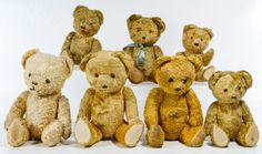 Lot 493: Golden Plush Leather Nose Bear Assortment; Seven bears with curled leather noses, black and amber glass eyes, tear drop shaped cloth foot pads, kapok stuffing and golden plush