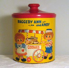 1973 Limited Edition Raggedy Ann and Andy Tin Cookie Jar by Cheinco / Bobbs-Merill C
