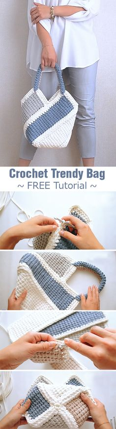 Super knitting yarn bag crochet baskets ideas The Effective Pictures We Offer You About Crochet Bag Crochet, Crochet Purses, Crochet Clothes, Crochet Baskets, Knit Bag, Sewing Clothes, Diy Clothes, Free Crochet, Tunisian Crochet