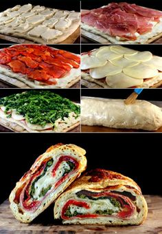 Three Cheese Broccoli, Prosciutto and Roasted Red Pepper Stromboli