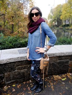 City - Coast.blogspot.com  Chambray, Current Elliot, Floral Denim, Rebecca Minkoff, House of Harlow, Boots, Zara