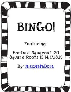 """27 individual BINGO sheet featuring the perfect squares and 5 square-roots Ready to slip into a sheet protector with a dry erase marker and use! Teacher sheet with """"calling cards"""" included. Blank Bingo Cards, Bingo Sheets, Square Roots, Calling Cards, Dry Erase Markers, Math Lessons, Mathematics, Teaching Ideas, Middle School"""