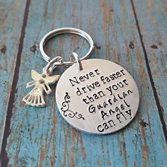 Guardian Angel Keychain  Never Drive Faster by tagsandthingsbyk
