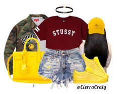 """""""Ketchup and Mustard"""" by cierracraig ❤ liked on Polyvore featuring Stussy, Yves Saint Laurent and adidas"""