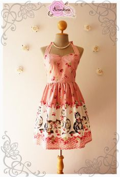 Vintage Inspired Dress Tea Dress Pretty Pink Kitten Dress The Cat Dress Cute Frock Party Dress  -Size S