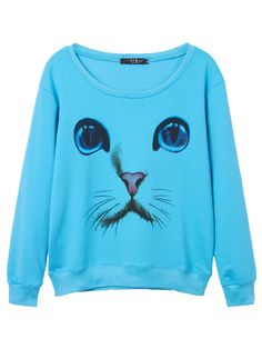 Sale 17% (18.78$) - Casual 3D Cat Printed Long Sleeve Round Neck Women Pullover Sweatshirt