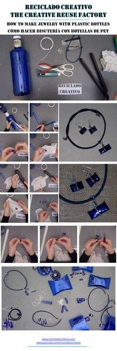 Bisutería realizada con botellas de plástico azul y alambre de aluminio