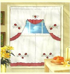 3pc Embroidered Flowers Kitchen Window Curtain Panel and Valance set