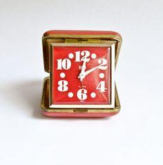 Vintage Red Elgin Travel Alarm Clock-Hands Glow in Dark