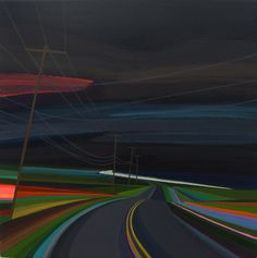 Night time on Old Montauk Highway original painting by Grant Haffner