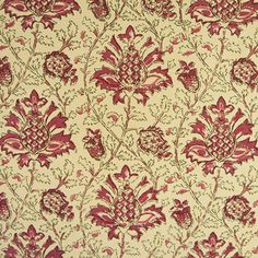 Kashmir Handprint - cream fabric with rose red floral print - $32.99