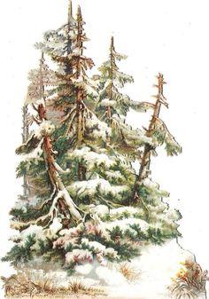 Oblaten Glanzbild scrap die cut chromo Wald Baum 14,5cm tree Winter Schnee snow: