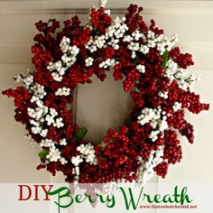 Day 2 of 25 Days of Christmas: DIY Berry Wreath! Made from Dollar Store Supplies! #Homedecor #wreath #Crafting