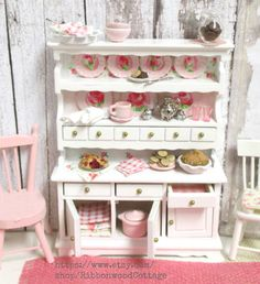 Pink and White Summer Dish Hutch-1:12 Scale Dollhouse Miniature