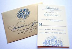Navy Blue Wedding Invitations  Navy and Gold by WhimsyBDesigns, $6.00