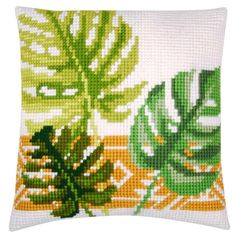 Botanical Leaves I Stitched In Yarn-Vervaco Needlepoint Cushion Top Kit Cross Stitch Love, Counted Cross Stitch Kits, Cross Stitch Patterns, Cross Stitch Cushion, Cross Stitch Stocking, Crochet Leaves, Needlepoint Kits, Knitting Charts, Le Point
