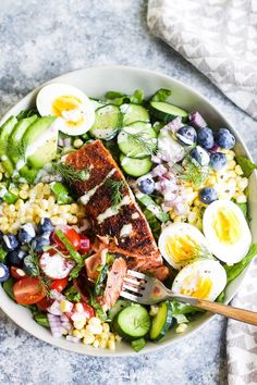 Blackened Salmon Cobb Salad: My Diary of Us