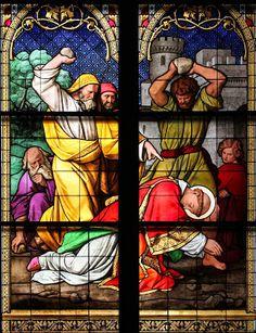 Martyrdom of Saint Stephen Santo Estevão, Acts 7, Saint Stephen, The Son Of Man, Man Standing, Stained Glass Windows, Holy Spirit, Saints, Ears