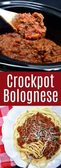 Crockpot Bolognese Pinterest Pin #crockpot #bolognese #bolognesesauce #meatsauce #dinnerideas