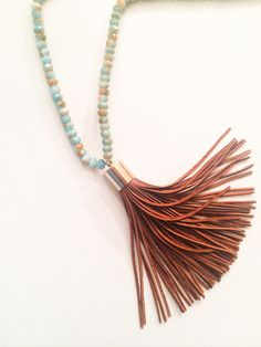 Turquoise and Orange Tassel Necklace by JennyMichelleDesigns