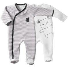 Lot de 2 dors-bien en velours bébé ENFANT DO  Rayé gris + blanc- Vue 1