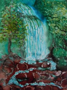 Alcohol Ink Painting 5x7 original waterfall by SandraFoxDesigns